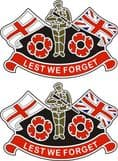 Poppy Car Sticker with England Flag and Union Jack